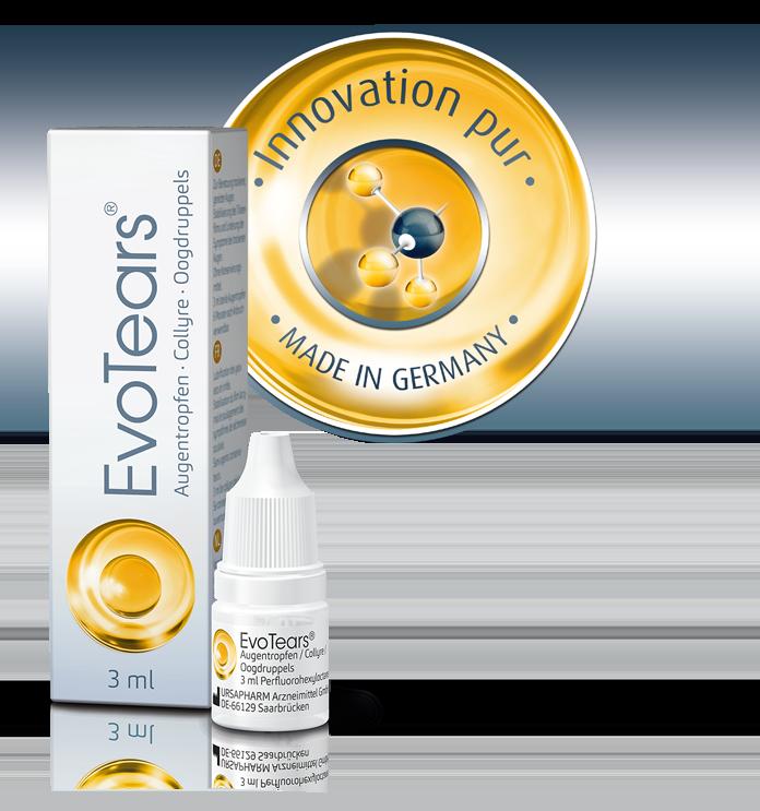 Packshot EvoTears inkl. Tropfflasche und Siegel Innovation